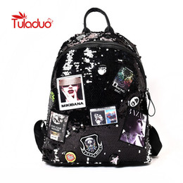 laptop american girl Promo Codes - Tuladuo Shiny Women Backpacks Sequins Large Capacity Laptop Backpack for Teenager Girls Bling Europe American Style Shoulder Bag