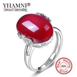 Wholesale natural ruby stone jewelry - YHAMNI Original Natural Ruby Stone Open Ring Original Pure 925 Silver Adjust Ring Fashion Jewelry Gift HJ-021