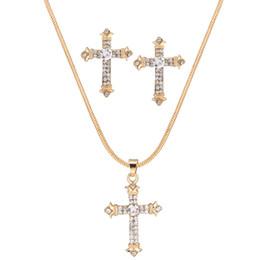 conjunto de jóias de aço inoxidável de urso Desconto Cruz de cristal Conjuntos de jóias de Diamante Popular pingente de ouro Colar de mulheres de Luxo moda brincos de liga grátis frete