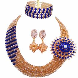 2019 casamento ouro nigeriano de ouro azul royal Champanhe Ouro AB Royal Blue Casamento Nigeriano Beads Africanos Conjunto de Jóias de Cristal Frisado Colar Conjuntos de Conjuntos de Jóias de Noiva 5RJZ04 casamento ouro nigeriano de ouro azul royal barato