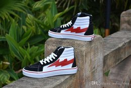 Wholesale High Street Fashion Shoes - Van REVENGE X STORM BLACK WHITE RED HIGH CUT SNEAKERS Black Men's Shoes Casual Shoes Fashion Hip Hop Hip-hop Street Dance Chute Board