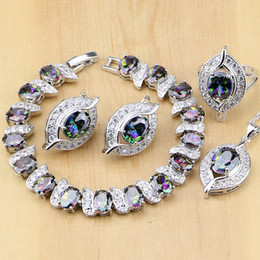 Wholesale mystic rainbow rings - whole sale925 Sterling Silver Natural Mystic Rainbow Zircon Stone Jewelry Sets For Women Earrings Pendant Ring Bracelet Necklace Set