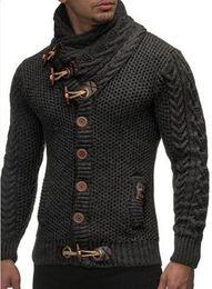 Wholesale Winter Wool Coat Buckles - Winter British Wind Multi-Modeling Mens Coarse Wool Coating Fashion Horns Buckle High-Collar Cardigan Mens Long-Sleeved Sweater