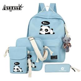 Wholesale Girls Backpacks Panda - AEQUEEN Fashion Canvas Backpack Set Schoolbags For Girl Teenagers Cute Panda Printing Bookbag Children Travel Bags Rucksack 4PCS