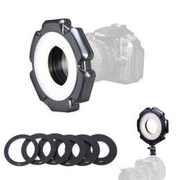 Kamera beleuchtung makro ring online-160 Makro Foto 10 Watt LED Kamera Video Ring Licht Dimmbar mit Adapter Ringe für Kamera DSLR