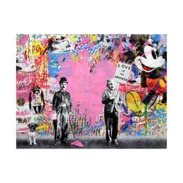 2019 pinturas de arte meninas bonitas 3 PC Mr. Brainwash-Einstein Pintura A Óleo Abstrata Da Lona Impressão Arte Da Parede Decoração para Sala de estar Decoração de Casa (Sem Moldura / Emoldurado)