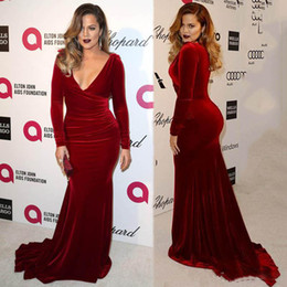 Wholesale Kardashian Plus Size - Oscar Khloe Kardashian Wine Red Dress Velvet Plus Size Sheath Evening Dresses Sexy V-Neckline Sheath Celebrity Party Gowns Red Carpet Dress