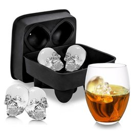 Wholesale head cakes - 3d Skull Head Ice Cube Mold Halloween Home Bar Silicone Mold Skull Ice Cube Tray Biscuit Cake Chocolate Maker