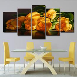 arte de lona de flor amarela Desconto Pinturas de lona Para Sala de estar Arte Da Parede 5 Peças Amarelas Tulipas Flor Fotos HD Prints Cartazes Decoração Da Casa de Cozinha
