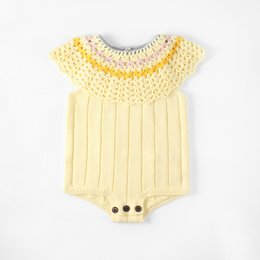 0907df1a074 baby girl christmas sweater Promo Codes - Everweekend Baby Girls Sweet  Knitted Crochet Sweater Rompers Yellow