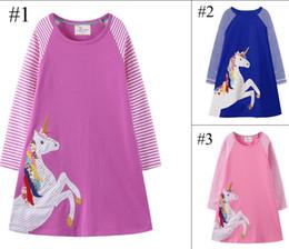 6279c70f184f0 3 Couleurs Filles Robes Robe De Licorne Vêtements Vêtements Manches Longues Coton  Rose Enfants Bleu Nouveau 2018 Automne Boutique 18 M-6 T