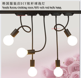 Wholesale Clothes Rod - LED hose track shoot E26 E27 lamp long rod bending light clothing stores according to draw the background wall track light
