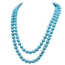Wholesale Turquoise Bead Strand Necklace - Kakee Fashion Turquoises Round Bead Strand Statement Necklaces Stone Long Necklace for Women Minimalist Jewelry Gift