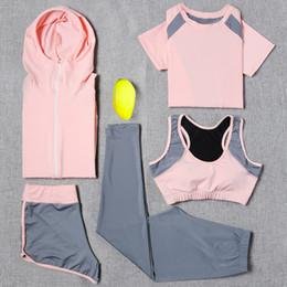 Wholesale Yoga Jacket Xl - 2018 Yoga Set Sport Jacket+Tights Pants+Short+Yoga Shirt+Sports Bras 5 Pieces Running Sportswear Tracksuit Fitness Gym Clothing