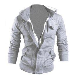Wholesale Handsome Man Coat - Handsome Men Hoodie Hooded Sweatshirt gay male casual slim coat Long sleeve Zipper Tops M-3XL