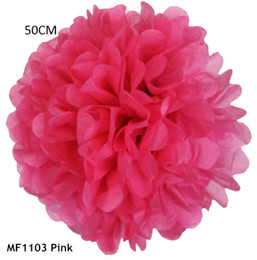 Wholesale Giant Flower Decoration - 20inch=50cm 3pcs lot Giant Tissue Paper Flowers Pom Pom Decoration Hanging Birthday Marriage Baby Shower Party Decor