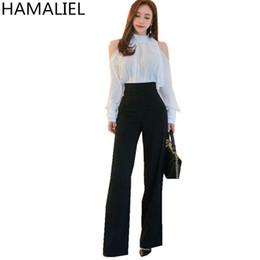 c2e93c6fe HAMALIEL Otoño Formal para Mujer 2 Piezas Conjunto de Gasa Blanca Off  Shoulder Ruffles Bow Blusa + Negro OL de cintura alta Traje de Pierna Ancha