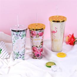 Wholesale christmas drinking straws - Flamingo Cup Decorative Drinks Cup Drinking Straws Cup Party Accessories Halloween Christmas plastic Water Bottles T2I228
