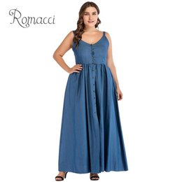 0c558cbcf1 Discount long ankle length denim dresses - Romacci Sexy Women Large Size Denim  Dress 2018 Summer