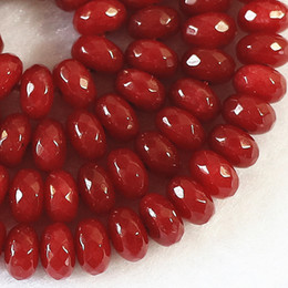 Wholesale Rubies Loose - DIY semi-finished products 5x8mm Faceted Brazilian Ruby Gem Abacus Loose Bead 15 inches