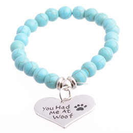 Wholesale Wholesale Spiritual Jewelry - She Believe she Could so she did Turquoise Healing Dog Paw Protection Elastic Beaded Stacking Bracelet Spiritual Jewelry
