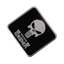 Marca carros online-Símbolo fresco de Punisher Etiqueta en forma de cabeza de calavera Estilo de automóvil Emblema de metal Calcomanías en 3D Etiqueta de marca creativa Pegatinas automáticas [Más opción de logotipo de calavera]