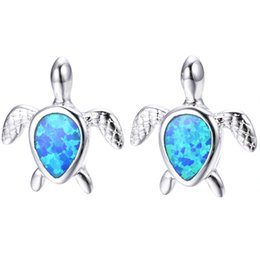 Drop Shaped Turtle Stud Pendientes para Mujeres Niñas Blanco Azul Fuego Opal Pendientes Natural Stone Small Pendientes 925 Plateado desde fabricantes