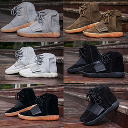 Wholesale sport med - New 2018 High Quality Triple Black Boost 750 Kanye West Shoes Glow In The Dark 750 Boost Men Boots Sports Shoes Sneakers XZ228