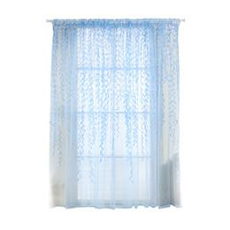 Wholesale Vertical Window Shades - Shade Window Drape Valances Curtain Transparent Tulle Window Sheer Screen For Balcony Bedroom 100X200CM (Blue)