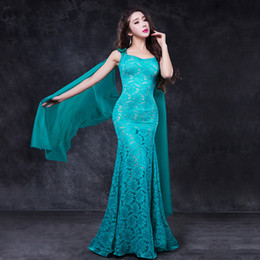 Nueva una pieza de encaje vestido de danza del vientre traje mujeres etapa rendimiento falda alas manga rosa rojo azul real verde envío gratis desde fabricantes