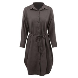 Wholesale Casual Grey Dress Shirt - 2018 New Women Midi Shirt Dress Turn Down Collar Long Sleeve Dress Button Placket Side Slits Casual Office Grey White