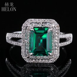 Изумрудная форма онлайн-HELON New ! Emerald 5x7mm Cushion Shape Pave Diamond Vintage Engagement Wedding Ring 10K White Gold For Women's Jewelry
