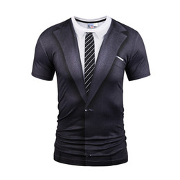 Wholesale Tattoo Printed Shirts - Hot New Style Casual Men 3D Tie Printing T Shirt Short Sleeve Tattoo Black Suit Digital Printing Summer Tops