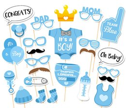 Wholesale photobooth photo - Photo Props for Baby Shower Baby Boy Bottle Masks On Sticks Photobooth Props for Newborn Boy Gift Party Decorations 25-Pack(Blue)