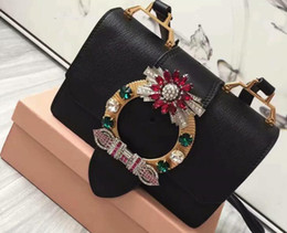 Wholesale Goat Fashion - AAAAA 5BH609 Lady Bag Madras Goat Leather Flap Closure Jeweled Buckle Suede Lining With Box Dust Bag Free Shipping