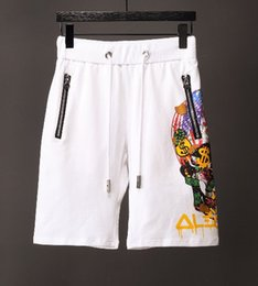 Wholesale Relaxing Canvas - Top quality 2018 summer new men's fashion side strip skull printing shorts beach pants men's swimming short pants free shipping