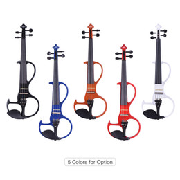 Wholesale Fingerboard Woods - ammoon Full Size 4 4 Solid Wood Electric Silent Violin Fiddle Style-3 Ebony Fingerboard Pegs Chin Rest Tailpiece
