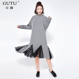 Wholesale Korean Night Fashion - [GUTU] Korean Black Dot Printed New Spring Stand Collar Stitching Lace Hem 2018 Fashion Tide Loose Big Size Women Dress FA76301