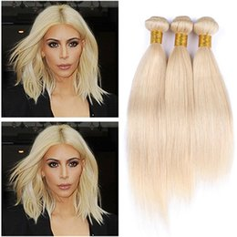 Wholesale Hair Color 613 - Pure #613 Blonde Human Hair Bundle Deals 3Pcs Lot Body Wave Bleach Blonde Brazilian Virgin Human Hair Weaves Extensions Double Wefts