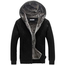 2020 uomini maglione con cardigan con cappuccio Inverno caldo spessore mens maglioni casual faux fur fodera cappotto maglione lavorato a maglia da uomo progettista cardigan con cappuccio grandi dimensioni 5XL uomini maglione con cardigan con cappuccio economici