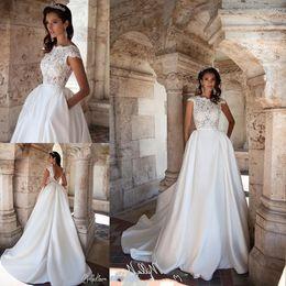 Wholesale Open Back Gold Wedding Dresses - Milla Nova Cap Sleeves A Line Wedding Dresses 2018 Illusion Lace Top Open Back Satin Long Bridal Dresses