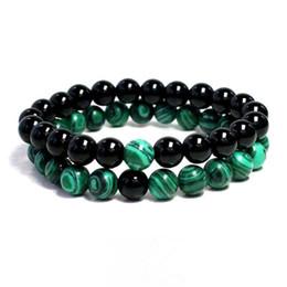 malachitperlen Rabatt 2 stücke DIY Malachit Naturstein Perlen Armband Grün Schwarz Stein Healing Kristall Armband Für Liebhaber