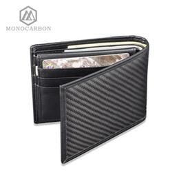 billetera de carbono Rebajas Monocarbon Luxury Design Real Carbon Fibre Wallet Matte Surface Pattern Leather Vintage Monedero Business Men Purse