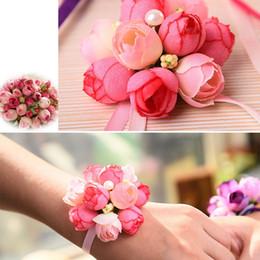 Corsage Bridesmaid Sisters Hand Flore seta artificiale pizzo sposa fiore per la decorazione nuziale Prom nuziale all'ingrosso da fiori di seta all'ingrosso del corsage fornitori
