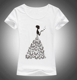 Wholesale wedding womens clothing - 2017 Fashion Beautiful butterfly wedding T Shirt Womens Novelty Cool Short Sleeve Tee Tops Clothing F39