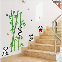 Wholesale Bamboo Wall Murals - Mural Vinyl Wall Sticker Removable Cute Panda Eating Bamboo Nursery Room Sticker