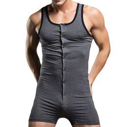 Wholesale Playsuit Black - Sexy Men Bodysuit Gay Penis Pouch Man Body Suits Sexy Bodywear Mens Bodybuilding Cotton Man Tank Top Singlets Playsuit Male F2