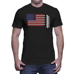 camicie hockey americane Sconti American Flag Hockey Sticks - Maglietta da uomo Sport Puck Ice Skate USA