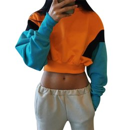 fashion hoodies cloth Promo Codes - Women Spring Autumn Cute Mix Orange Hoodies Long Sleeve Loose Crop Top Fashion Sweatshirt Casual Patchwork Cloth