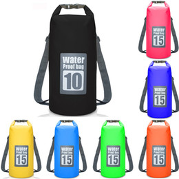 Wholesale Dry Bag 15l - 10L 15L 20L Durable Outdoor Waterproof PVC Dry Bag Folding Backpack Storage Bag Floating Swimming Boating Drifting Camping Travel Kit